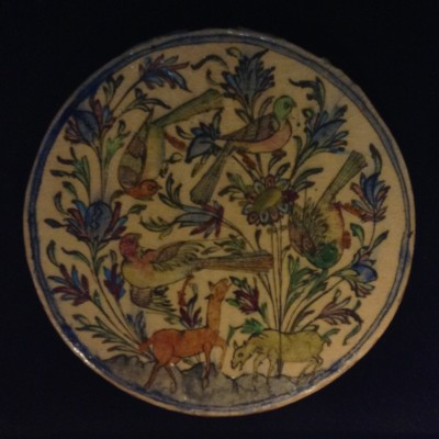 Iran Persia Hand Painted Pottery Glazed Ceramic Tile