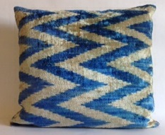 Silk Ikat Chevron Pillow Cover Blue 14 x 18