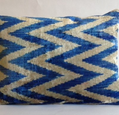 Silk Ikat Chevron Pillow Cover Blue 15 x 21