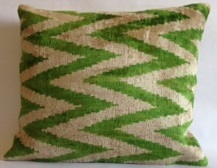 Silk Ikat Chevron Pillow Cover Green 14 x 18