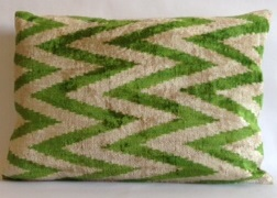 Silk Ikat Chevron Pillow Cover Green 15 x 21